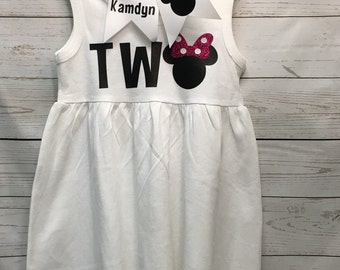 2nd birthday girl dress, minnie mouse birthday dress, minnie mouse outfit, disney dress, toddler girl clothing, minnie mouse, girls clothing