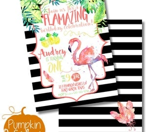 Flamingo Birthday/Girl Birthday Invite/First Birthday/Pink Birthday Party/Black and White Party/One Birthday/Kate Spade ISH/Print at Home