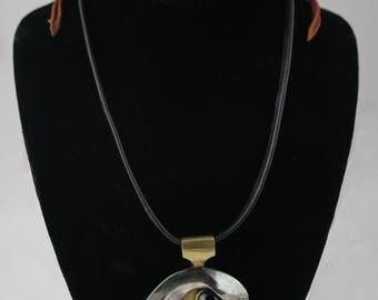 Falcon Eye Pendant on Leather Falconry Braces