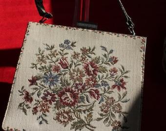 Vintage Kelly-style Italian Tapestry Handbag