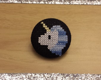 Blue Unicorn Cross Stitch Button (Pin Back or Magnet)