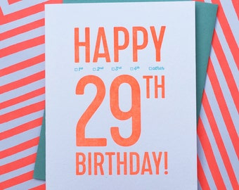 letterpress: 29th birthday card!