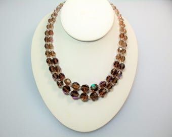 Vintage Rootbeer Brown Aurora Borealis and Clear Glass Bead Double Strand Adjustable Necklace with Rhinestone Accents