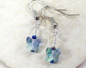 Small Swarovski Crystal Butterfly Earrings, Butterfly Crystal Dangle Earrings, Iridescent Blue Crystal Drop Earrings, Easter Dangle Jewelry