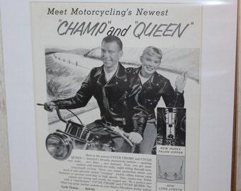 "1958 Harley-Davidson Leather Motorcycle Jackets 11"" x 14"" Matted Print Ad Art #5809amot05m"