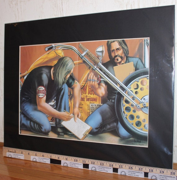 "David Mann ""Harley Chopper at the Bike Show"" 16"" x 20"" Matted Motorcycle Biker Art #8305ezrxm"