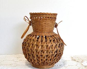 vintage brown woven urn vase basket primitive rustic basket decor