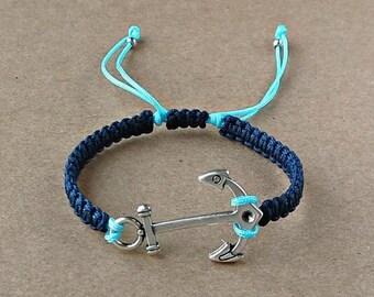 Anchor Bracelet, Metal Anchor, Satin Cord, Macrame Bracelet, Macrame Knot, Adjustable, Navy Blue, Summer, Gift, Sea