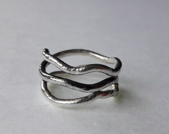 Silver Organic Twisted Spiral Wrap Ring  Oxidised
