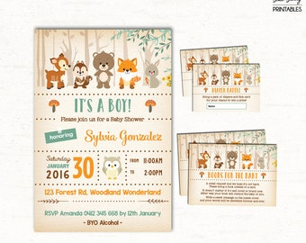 3-PIECE-SUITE. Rustic Woodland Baby Shower Invitation. Diaper Raffle. Bring a Book Insert Card. Forest Baby Shower Package. Fox. Deer. WOOD1