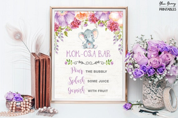 purple floral elephant momosa bar lavender baby shower printable sign purple flowers garden baby