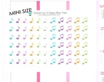 Happy MINI Music Note Tracker Reminder Kawaii Stickers Erin Condren planner Kikkik Plum Filofax Personal A6 Practice Musician Lesson Recital