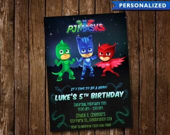 PJ Masks Birthday Invitation - PJ Masks Invitation - PJ Masks Birthday Invite (Digital File Download)