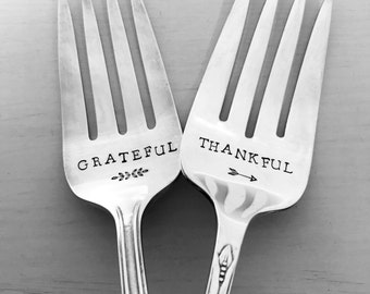 Grateful & Thankful Serving Forks, Stamped Forks, Vintage, Silverplate, Hand Stamped, Thanksgiving, Gift, Present, Hostess Gift, Meat Fork