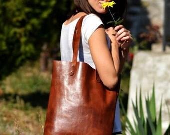Brown tote Leather tote bag female tote everyday purse Shoulder bag Hobo bag