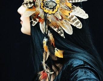 Flying Heads Feather Flower headband, Bohemian Feather headpiece, Feather headdress, Tribal feather headpiece