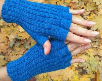 Blue gloves Womens gloves hand knit mittens half finger gloves handmade wool gloves fingerless gloves texting gloves Xmas gift womens gift