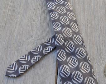 Vintage grey silk tie CLAUDE MONTANA 148x9.5