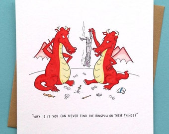 DRAGON RINGPULL - Funny card - Greetings card - Birthday card - Handmade - Humorous - Dragons