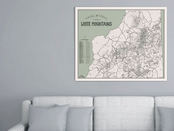 White Mountains NH Hiking Trails Map Green Background 4000 Footers Illustrated Print Gift New Hampshire Appalachian Trail