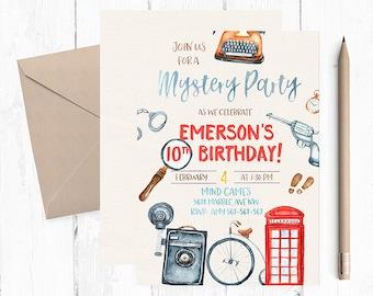 Mystery Party Invitations, Mystery Dinner Invitations, Sherlock Holmes Invitation, Detective Birthday Invitations, Mystery Dinner Party,