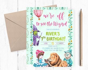 Wizard Of Oz Party, Wizard Of Oz  Invitations, Wizard of Oz Birthday, Wizard of Oz Invitation, Wizard of Oz themed party, Oz invites, invite