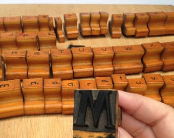 Old Antique Rubber Stamp Alphabet Set / 1940's / Unique and Cool / Great for Mixed Media or Assemblage Artwork