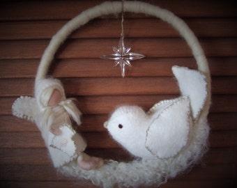 Waldorf inspired  white felt snow fairy with snowbird hanging mobile