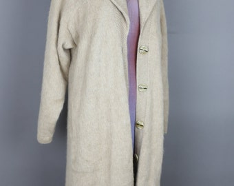 VINTAGE 80s ALPACA Nancy Jemio tan full length cardigan