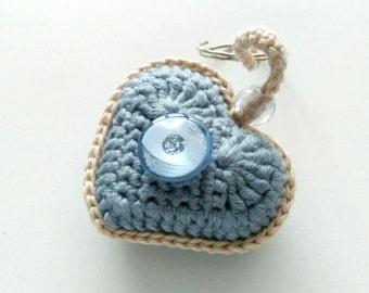 Wedding crochet heart keychain Wedding gift for bride Gift from groom Romantic gift Bridal shower gift Crochet love heart charm keychain