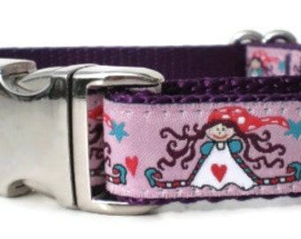 dog collar - funky girls purple dog collar - medium dog collar - metal buckle dog collar - cute christmas gift dog collar