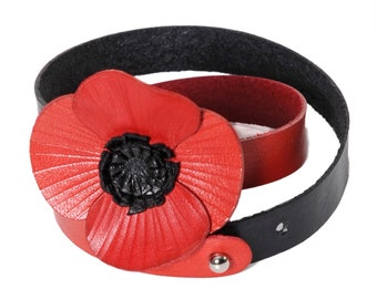 Bracelet two towers leather flower poppy in flower calfskin