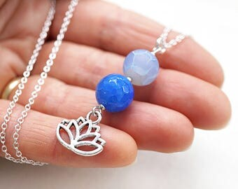 Lotus Necklace Sterling Silver Lotus Flower Necklace Light Blue Agate Pendant Throat Chakra Yoga Necklace Meditation Charm Harmony Balance