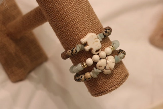 Elephant Stone Beaded Bracelet Stack