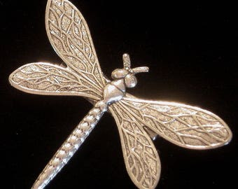 Dragonfly Pin Brooch 24 karat Gold or Silver Plate Dragonflies Summer Art Nouveau Garden Jewelry PG117 / PS072