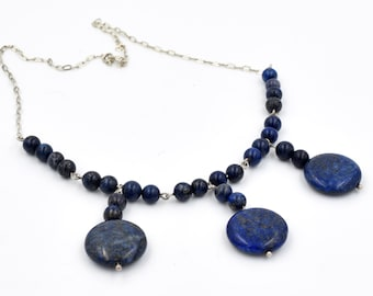 Necklace, necklace with stone natural lapis lazuli, elegance, Egyptian necklace, necklace handmade blue color, birthstone