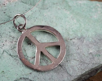 1.75cm STERLING SILVER Peace Sign Charm - Sterling Silver Charm, Peace Necklace, Peace Charm, Peace Sign Pendant, Peace Sign Necklace J420