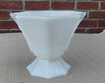 Footed Milk Glass, adorable, vintage mid century,  flower vase, candy dish, collectible milk glass serving dish, fruit decor