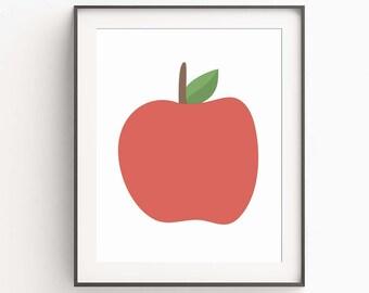 Apple Print, Nursery Decor, Nursery Art, Kitchen Decor, Kitchen Art, Modern Art, Wall Art, Modern Decor, Digital Print, Red Apple