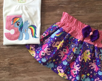My Little Pony Outfit, My Little Pony Birthday Girl Outfit, My Little Pony Birthday Outfit, MLP Outfit, Rainbow Pony Birthday Outfit