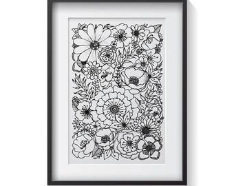 Floral Print / Botanical Illustration / Black & White / Home Decor / Art Print / Adult Colouring / Digital Download