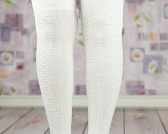 White Fold Over The Knee Boot Socks