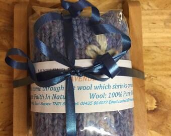 Organic Lavender Soap Gift Set Wooden Soap Dish, Vegan Gift, Natural Soap, Gift For Her, Felted Soap, Handmade Soap, Teacher Gift,