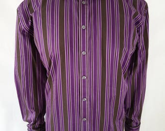 Vintage Ted Baker Dress Shirt in Deep Mauve and Brown Stripes