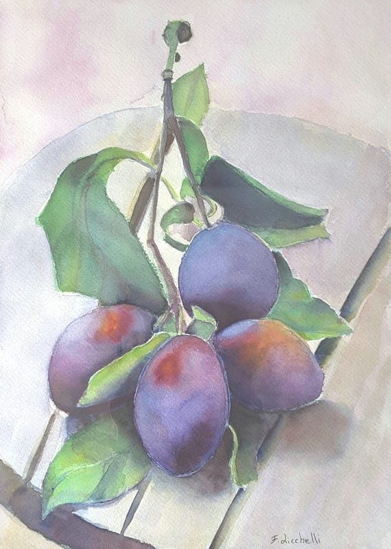 Prunes, plums, original watercolor by Francesca Licchelli, still life, precious gift idea, home wall art, kitchen decoration, living, fruits