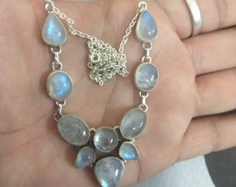 Moonstone Necklace, Pure 925 Sterling Silver Necklace, Healing Necklace, Bohomain Necklace, Moonstone Jewelry, Bridal Gift, Antique Necklace