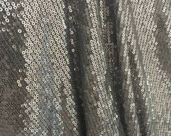 SALE! Silver Sequin Fabric, Silver Sequin on Tulle Fabric, Sold by the yard