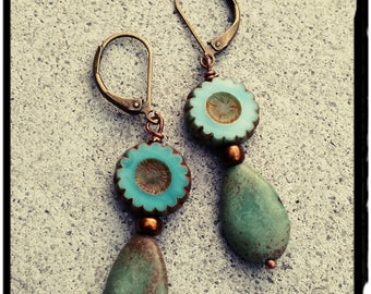 Turquoise Earrings - Teardrop Shape Turquoise Bead//Metallic Gold Bead//Czech Glass Pansy Bead - Leverback/Boho/Gypsy/Hippie - Gift for Her