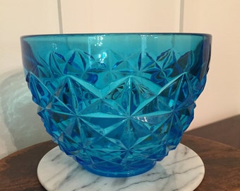Vintage Blue Pressed Glass Serving Bowl with Diamond Point Pattern