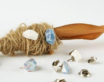 Porcelain Gem Badge Pins - Gem Brooch, Gem Lapel Pin, Crystal Brooch, Crystal Lapel Pin, Handmade Ceramic Badge, Porcelain Crystal Badge Pin